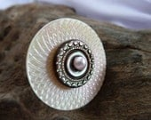 Shell Engraved  Button Ring Adjustable, Made with Vintage French Buttons