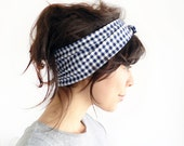 Tie Up Headscarf Navy and White Gingham - ChiChiDee