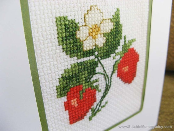 Cross stitch note card - Strawberries