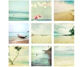 Beach Photography - Summer fun beach umbrella sunshine ocean waves surfer sea seashore water soft light 5x5 Fine Art Photography Set - LupenGrainne