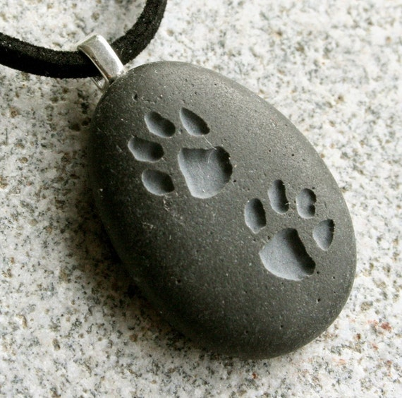 Puppy Pawprints Pendant - Double Sided Engraved stone necklace - Tiny PebbleGlyph (C) Pendant - Engraved Beach Pebble by sjEngraving