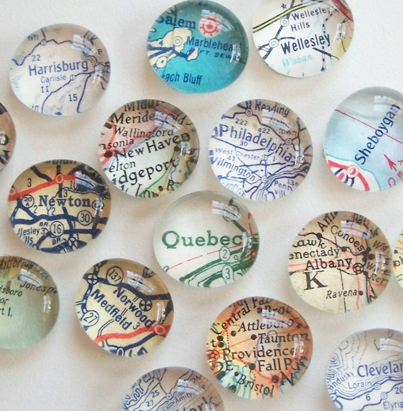 Vintage Map Magnets - Set of Four (you pick the regions) Perfect customized, personalized gift. 11 Diy-able Ideas For Using Maps and Mod Podge. Simplicity In The South.