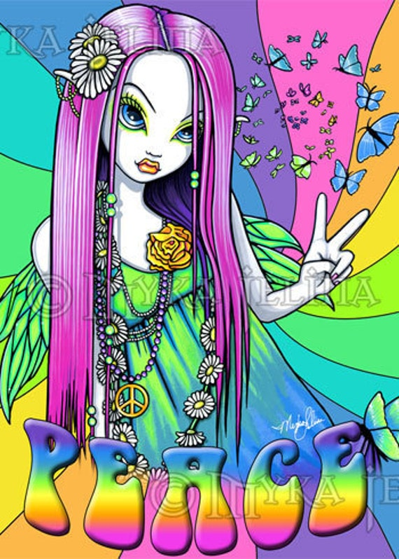 Original Peace Tattoos on Rainbow Hippie Peace Fairy Art Ooak Aceo Chloe Cu By Mykajelina