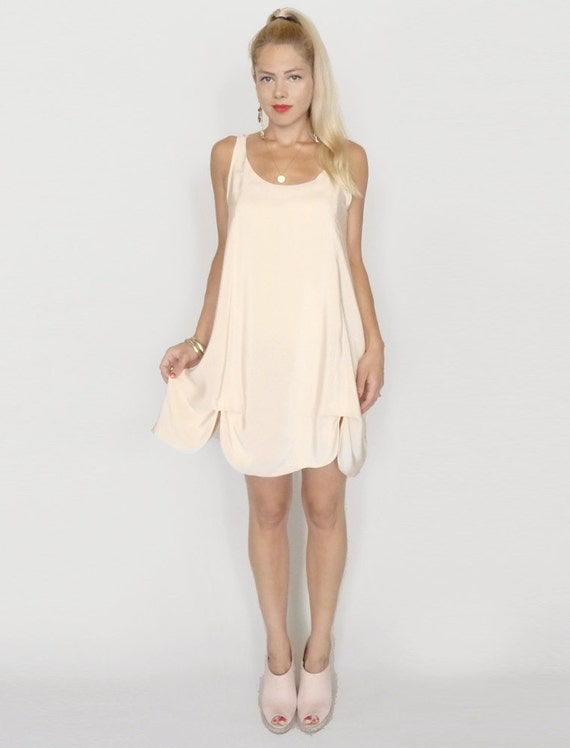 Light Pink Blush Petal Hem A-line Bridesmaid Summer Dress