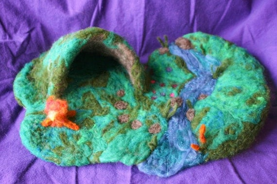 Needlefelted Wool Playmat for Children - All Natural Dramatic Play or Nature Table Accessory