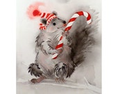 Art Watercolor Painting Squirrel Chipmunk Kids Men Women Teens Candy Cane Home Decor Woodlands Stripes Grey & Red 8 x 10 Under 25 - LaBerge