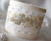 Bridal Wedding Accessory Hand Embroidered Cuff Hydrangea Magnolia