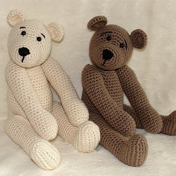 PDF Crochet Pattern - 10 inch Bear and Polar Bear