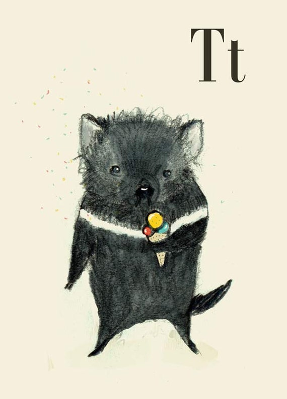 T for Tasmanian  Devil  Alphabet animal,  Print 8x11 inches