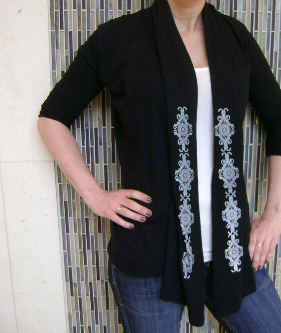 Lacy Revival on Black Long Sleeve Wrap