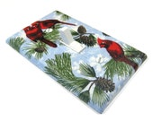 Christmas Holiday Decor Cardinal Bird Pine Cone Light Switch Cover Blue Switchplate Switch Plate 624
