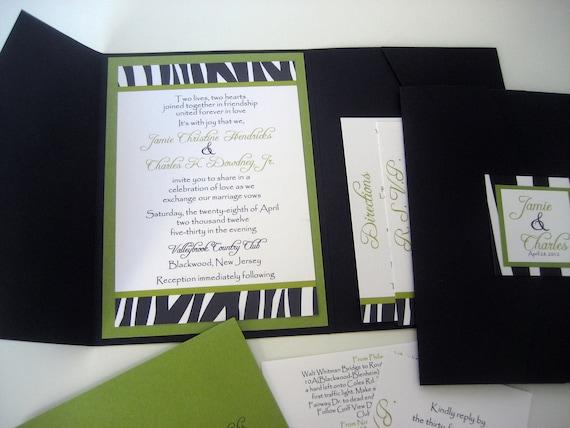 Pocket Fold Wedding Invitation Set - Zebra Stripes