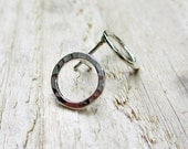 Silver Circle Studs - Fine Silver, Sterling Silver, Modern, Post Earrings, Textured, Hammered - BeadinByTheSea