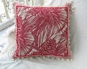 Pine Decorative Pillow Red Plaid Cream Rustic Cabin Style Pinecone Pine Needles Adirondack - squirrelonaledgetop