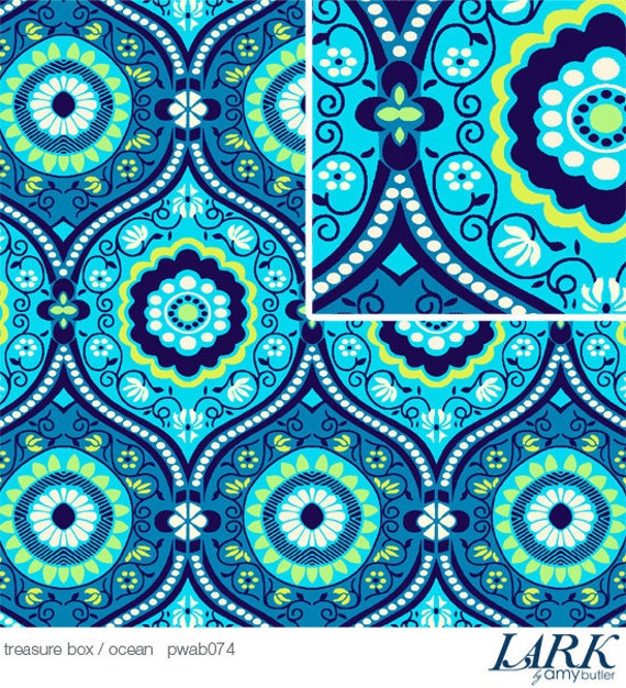 Amy Butler Lark Treasure Box Ocean Fabric, 1 Yard