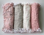 Baby Girl Burp Cloths French Country Pink Gray Set of Four - LittleTreasureQuilts