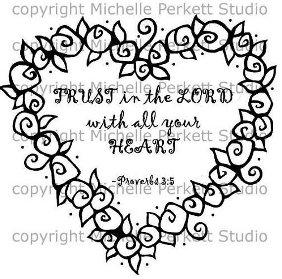 Digital Stamp Christian Lord Roses Heart Proverb Bible Cardmaking Scrapbooking Stamping