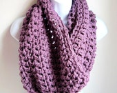 "Purple Extra Large Chunky Scarf ""Buy one get one 50% off lowest price"" Dusty Purple Infinity Scarf,  Cowl"
