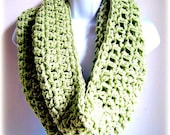 """Infinity Scarf Celery Green, Sage Green Extra Large Chunky Scarf """"Buy one get one 50% off lowest price"""""""