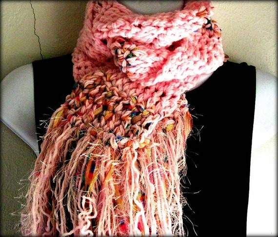 Scarf Baby Pink Decorative Ribbon Fringe Clearance by JarvisGift Scarves With Ribbon Weaved In
