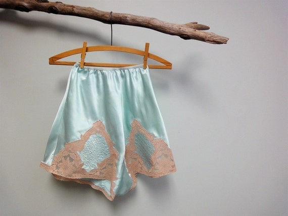 aqua blue vintage tap shorts with lace detail from the 30s