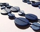Blue Denim  Necklace made of  Polymer clay Button Beads Handmade Jewelry - efiwarsh