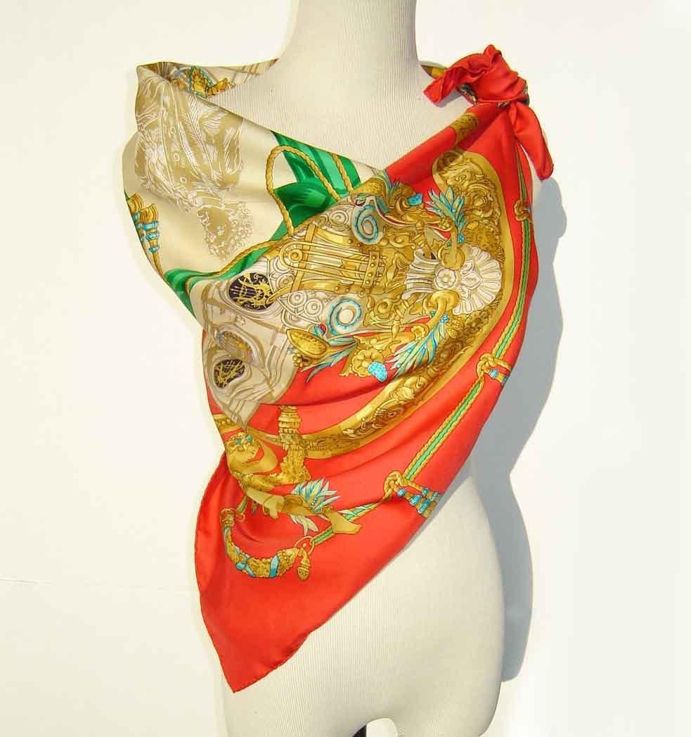 Vintage Hermes Red Silk Scarf Shawl Latham Charles Garnier Paris Vintage Hermes Silk Scarves