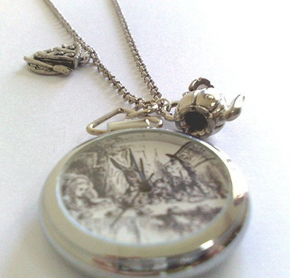 MAD HATTER TEA PARTY POCKET WATCH AND CHARM NECKLACE-ALICE IN THE WONDERLAND