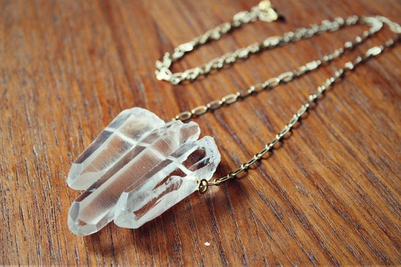 Triple Quartz Spike Necklace - Gold