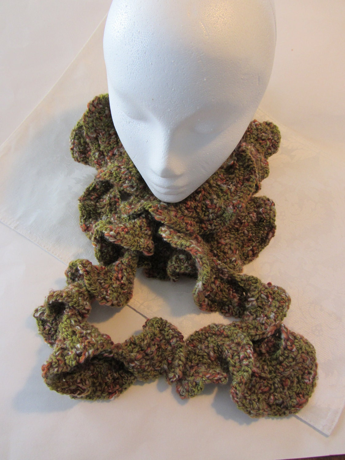 Crochet Ruffle Scarf Multicolored Half Price Sale by RobertaAnne Crochet Scarves For Sale