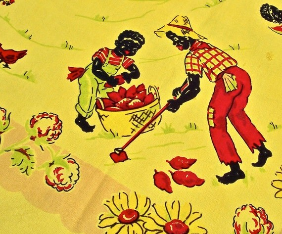 Vintage Black Americana Tablecloth Plantation Mammy Watermelon