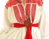 Oaxacan Peasant embroidered Blouse mini dress Mexican textile wearable collection ethnic art
