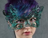 Rococo  lacy mask in teal leather