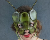 Grasshopper mask in leather
