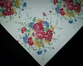 Vintage 50s Floral Bouquet Tablecloth - TheSpectrum