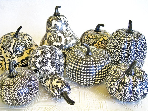 Pumpkin Ornament, Squash Ornament, Halloween Ornament, decoupage ornament, black and white, floral fall autumn thanksgiving
