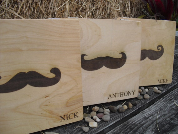 Personalized Engraved Mustache Cigar Box Groomsmen Gifts - Item 1397