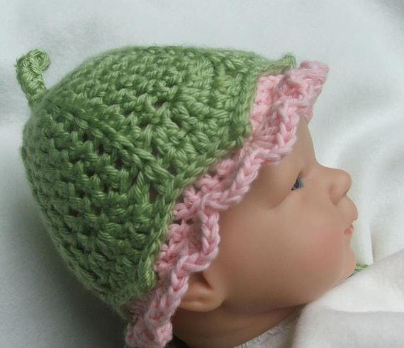CROCHET HAT Pattern  - Photo Prop pattern for Baby Hat -  Darling Little Flower Bud