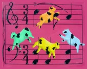 Cow Art music notes chords pink orange blue yellow Folk Art Signed Matted Fine Art Print - RisingStarArt