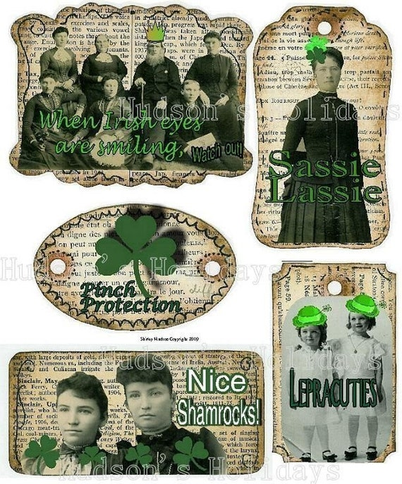 Shamrock ST. PATRICKS Day TAG - Label lucky irish vintage altered scrapbooking digital uprint primitive paper old