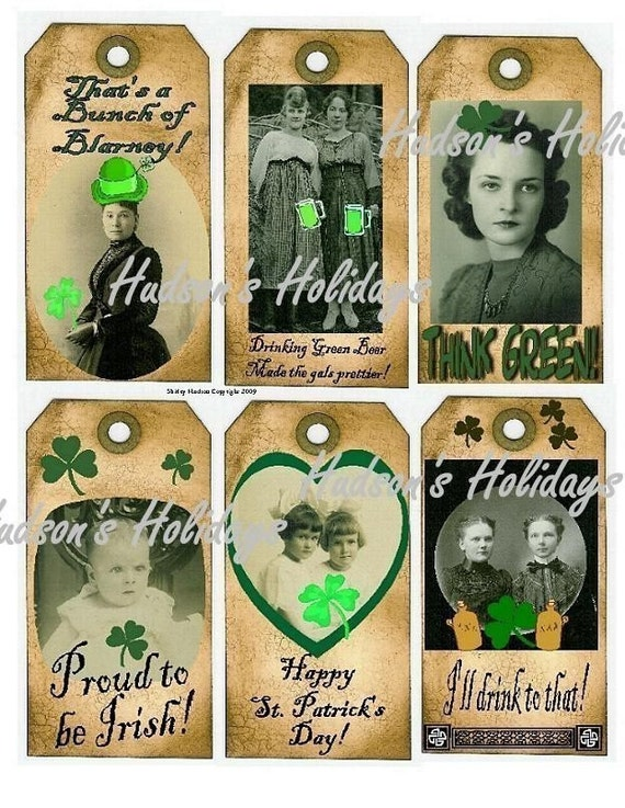 St. Patricks Day Tags - lucky irish vintage altered scrapbooking digital uprint primitive paper old