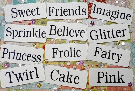 12 Large Girly Flash Cards PDF - vintage like altered art girl woman believe pink sweet signs words pretty digital uprint primitive