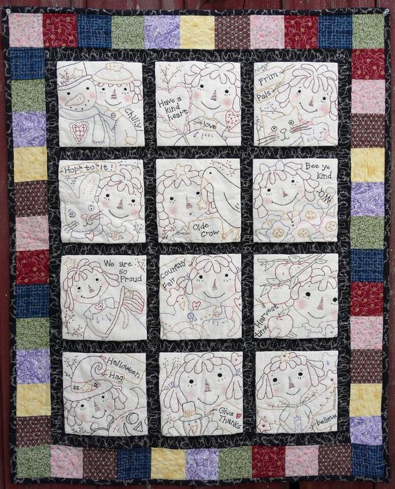 Raggedy ann gals quilt PDF pattern - 12 months seasonal stitcheries primitive embroidery anne doll cat bunny crow