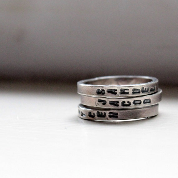 Mothers Day Hand Stamped Stacking Rings Personalized Mommy Jewelry - recycled metal