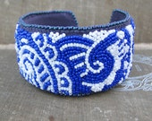 Blue Paisley Cuff, Bead Embroidery, Mehndi Inspired - windyriver