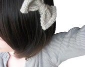 knit bow headband - by the shore - Hand Knit Bow Headband in Soft Khaki Yarn