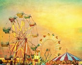 Carnival photography, Ferris wheel, county fair, mustard textured teal green sky carousel nursery decor 11x14 - CarlChristensen