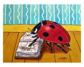 LadyBug Reading a Book Insect Art Print - lulunjay