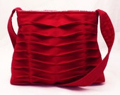 Handbag Handmade Purse Pleated in Bright Red Chevron Pleats - JulieMeyer
