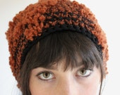 Slouchy Hat in  Rusty Orange and Black with Texture Crochet Handmade - twoknit